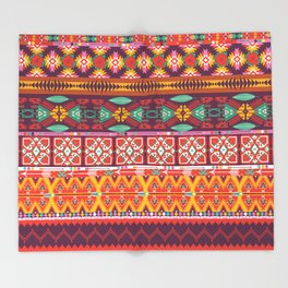 Seamless colorful aztec carpet with birds,flowers and arrow Throw Blanket