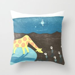 Lonesome Giraffe Throw Pillow