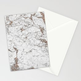 White frost - rose gold marble Stationery Cards