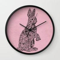 rabbit Wall Clocks featuring Rabbit by Suburban Bird Designs