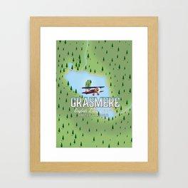 Grasmere English Lake District vintage map Framed Art Print