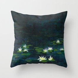 Water Lilies at Night Throw Pillow