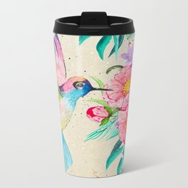 Whimsical watercolor hummingbird and  floral hand paint Metal Travel Mug