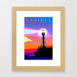 Sanibel Island Lighthouse Mixed Media Art Framed Art Print