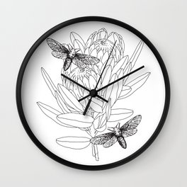 Protea and Moths Wall Clock