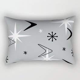 Vintage 1950s Boomerangs and Stars Gray Rectangular Pillow