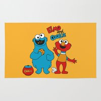 elmo Area & Throw Rugs featuring Elmo & Cookie Fan Art by gabriela