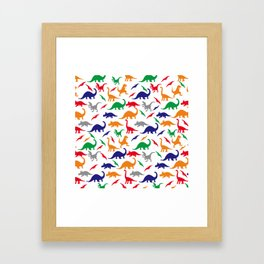 Colorful Dinos in Green, Grey, Red, Blue Yellow Framed Art Print