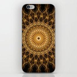 Pretty golden ornamented mandala iPhone Skin