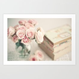 Whimsical peonies and books Art Print