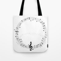 music notes Tote Bags featuring music notes by Impurist