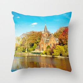 Minnewater lake of love in Bruges, Belgium Throw Pillow