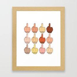 Multicultural Middle Fingers Framed Art Print