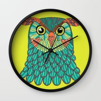 lime green Wall Clocks featuring owl - Lime green by bluebutton studio