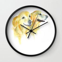 Harold and Daphne - golden retriever 2 Wall Clock