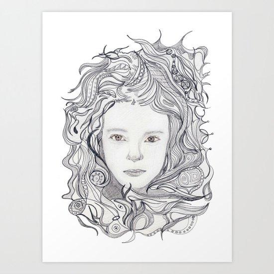 girl - curly doodle hair Art Print