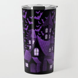 Purple Halloween Haunted House Bat Flyover Travel Mug