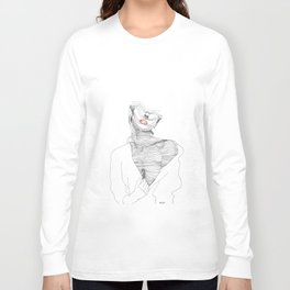 line drawing of a beautiful muse Long Sleeve T-shirt