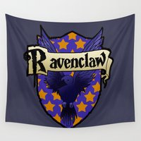 ravenclaw Wall Tapestries featuring Ravenclaw Crest by AriesNamarie