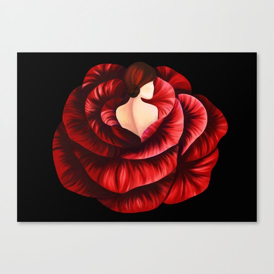 Woman in Rose Canvas Print