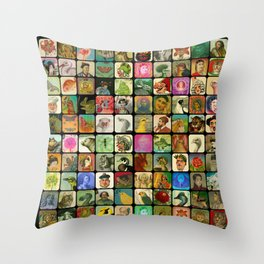 Vintage Heads Throw Pillow