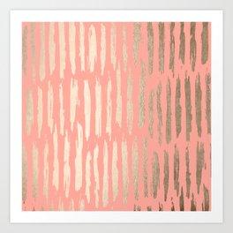 Vertical Dash Tahitian Gold on Coral Pink Stripes Art Print