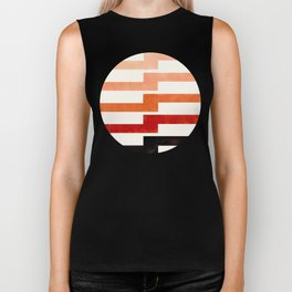 Minimalist Mid Century Circle Frame Burnt Sienna Zig Zag Colorful Lightning Bolt Geometric Pattern Biker Tank