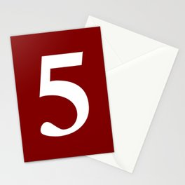 5 (WHITE & MAROON NUMBERS) Stationery Cards
