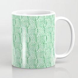 Soft Green Knit Textured Pattern Coffee Mug