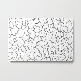 White and Black Cracked Lines Minimal Abstract Pattern Metal Print