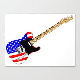 Stars And Stripes Guitar Canvas Print