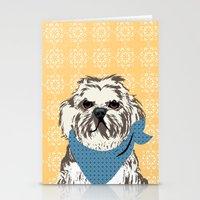 shih tzu Stationery Cards featuring Shih Tzu Dog Art by ialbert