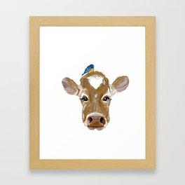 Bluebird Cow Framed Art Print