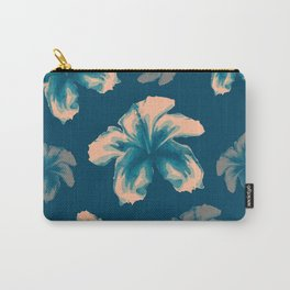 Blue halftone hibiscus Carry-All Pouch
