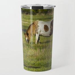 Pinto Mare with the Copper Colored Mane No. 1 - Chincoteague Ponies Assateague Horses Travel Mug