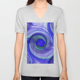 abstract cyclonic twist in blue Unisex V-Neck