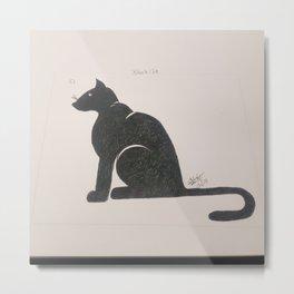 black cat sillouette Metal Print