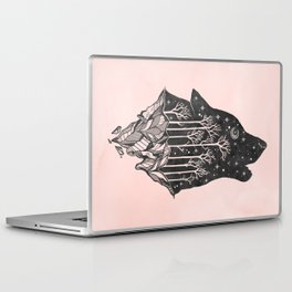 Adventure Wolf - Nature Mountains Wolves Howling Design Black on Pale Pink Laptop & iPad Skin