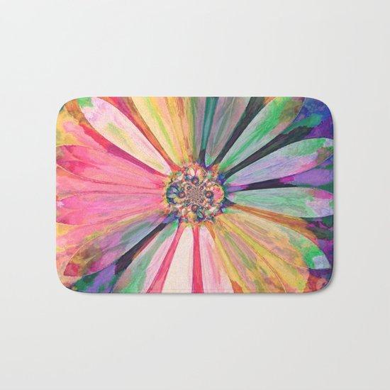 Abstract Colorful Daisy 3 Bath Mat