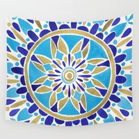royal Wall Tapestries featuring Royal Blue Mandala by Cat Coquillette