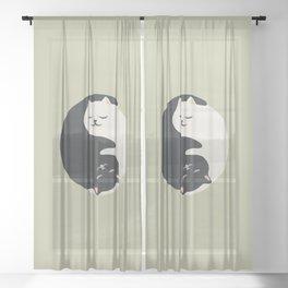Hidden cat 26 yin yang hug Sheer Curtain