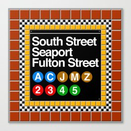 subway south street seaport sign Canvas Print