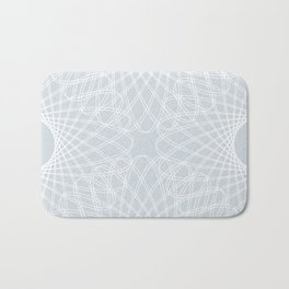 spirograph inspired pattern in white and a pale icy gray Bath Mat