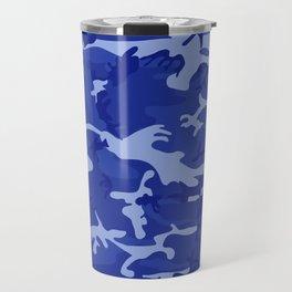 Bright Blue Camo Pattern Travel Mug