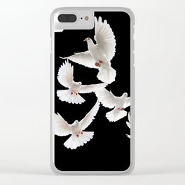 WHITE PEACE DOVES ON BLACK COLOR DESIGN ART Clear iPhone Case