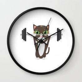 Fitness cat weight lifting   Wall Clock