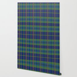 emerald and navy dobbie plaid Wallpaper