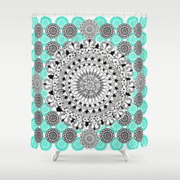 Black and Teal Patterned Mandalas Shower Curtain