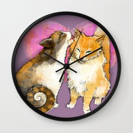 Cat licks a cat on the background of the heart Wall Clock