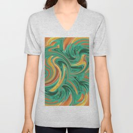 psychedelic graffiti wave pattern painting abstract in green brown yellow Unisex V-Neck
